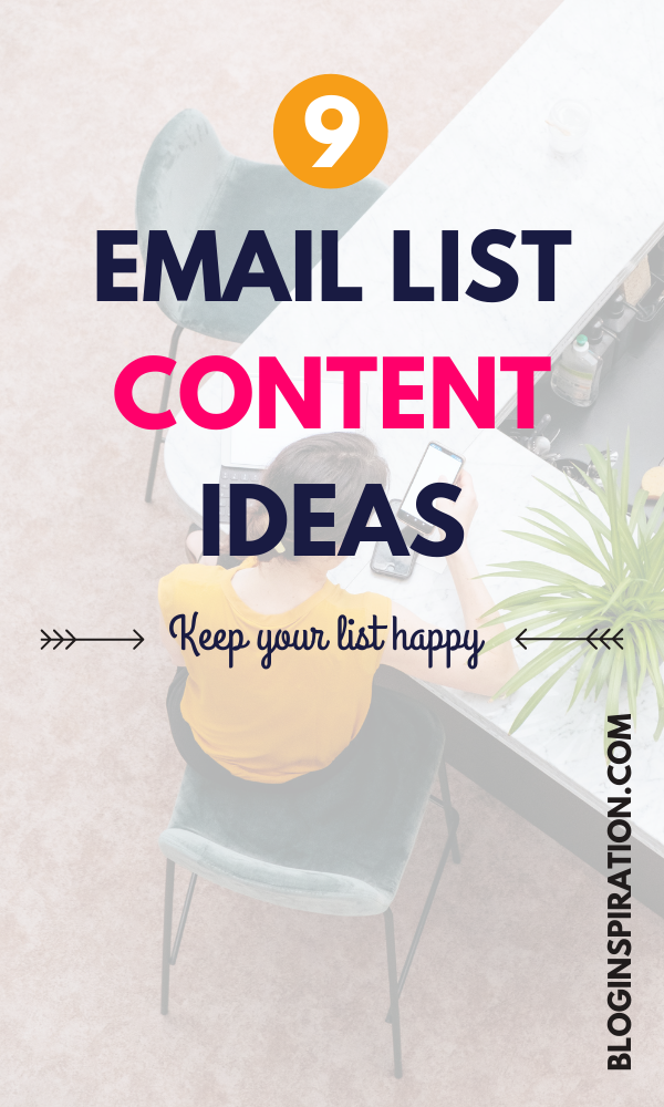 Email list content ideas